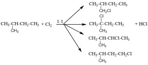 Isopentan + cl2